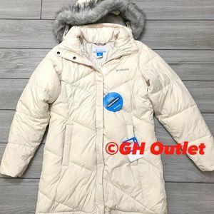 Columbia Mid Snow Jacket Chalk/Cream Hooded Sz S